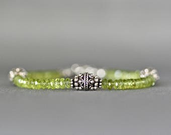 Peridot Bracelet - Bali Silver Bracelet - Green Gemstone Bracelet - Peridot and Silver - August Birthstone - Peridot Jewelry - Gift for Her