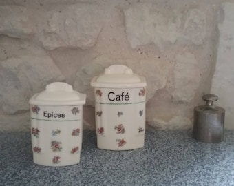 2 spice jars vintage ceramic Ditmar Urbach, rustic style with flowers decor: coffee, spices, boxes spice Vintage Germany