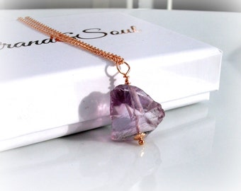Raw Amethyst Rose Gold Necklace - Nugget Amethyst FEBRUARY BIRTHSTONE - Gift For Her