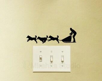 Sled Dogs Velvet Wall Decal - Huskies Wall Decor - dogs Laptop Sticker - Husky Gifts - Sleigh Macbook Decal - Dog Lover Art - Vinyl Decor