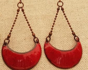Trapeze earrings Red