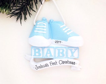 Baby's First Christmas Ornament / Blue Booties with Laces / Baby's 1st / Personalized Christmas Ornament / Baby Ornament