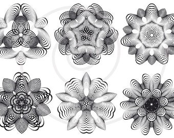 Abstract black flowers, digital clip art, floral clipart set, geometric design, kaleidoscope, mandala, scrapbooking, vector instant download