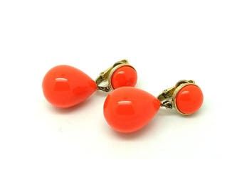Vintage 1960s Earrings | Trifari Earrings | Orange Clip Earrings | Trifari Clips | 1960s Trifari Earrings | 1960s Dangly Earrings