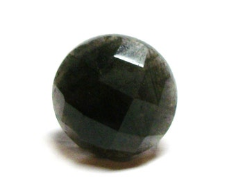 "Labradorite, labradorite cab, faceted cabochon, black and gray,  jewelry making, jewelry supplies, ""Licorice"""