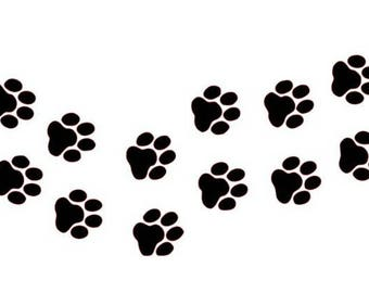 Vinyl decal Paw Prints, dog paw print wall decal, paw print Decal for Vehicle approx 7.5x4 inches,
