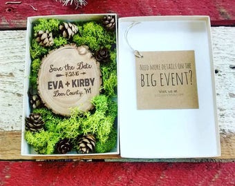 50 Save The Date Wood Magnets in Moss and Pine Cone Box