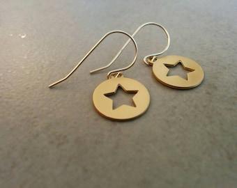Stars Earrings, Gold Earrings, Dangle Earrings, Gold Star, Jewelry Gift, Girls Gift, Girls Earrings, Gift For Her, Bat Mitzva Gift