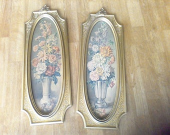 Wall Hangings, Dart, 1964, Floral Print Gold Oval Frames, Made in the , USA, Mid Century Decor, Cecil Rubino