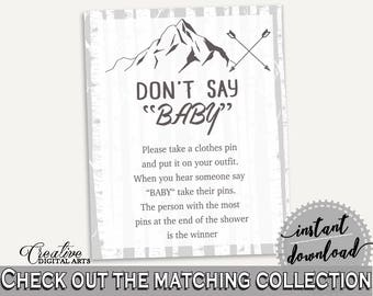 Dont Say Baby Baby Shower Dont Say Baby Adventure Mountain Baby Shower Dont Say Baby Gray White Baby Shower Adventure Mountain Dont S67CJ