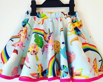 magical unicorns, unicorn skirt, girls twirly skirt, full circle skirts, kids clothes, princess, rainbows, girls skirts, rainbow, toddler