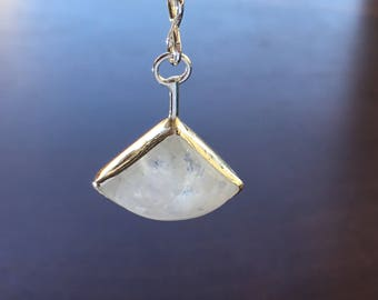 Moonstone Teardrop/Triangle-like Pendant on Sterling Silver Chain Necklace, June Birthstone Necklace, One of a Kind Moonstone Jewelry