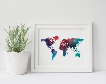 PRINTABLE Art World Map Print World Map Art Watercolor Map Travel Print Travel Art Map Print Map Art Blue Watercolor Nursery Art