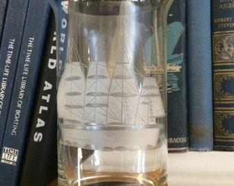 VINTAGE GLASS...nautical ship engraved glass - wedding gift sailor terrarium fruit bowls traditional home decor