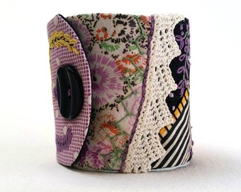 Cuff Bracelet made from Vintage Fabrics and Lace