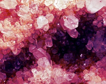 Quartz Minerals Photograph gem crystal cluster large print pastel pink purple fuchsia nature mineralogy