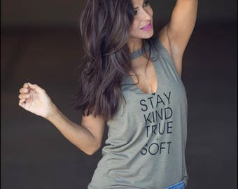 Stay Kind True + Soft. Limited Edition Choker Destroyed V-Neck. Women's V-Neck Shirt. Choker Shirt. Women's Christmas Gift. Workout Tank.