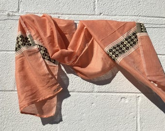 Peach, White and Brown Geometric Striped Scarf from Ethiopia