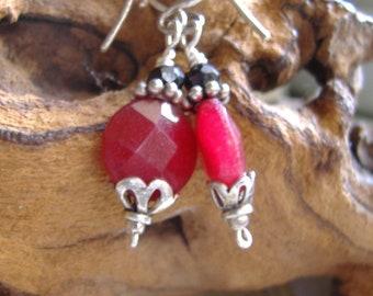 Red Jade Earrings, Faceted Red Earrings, Drop Earrings, Jade Earrings, Silver Earrings, Dangle Earrings, Boho Earrings, Gemstone Earrings