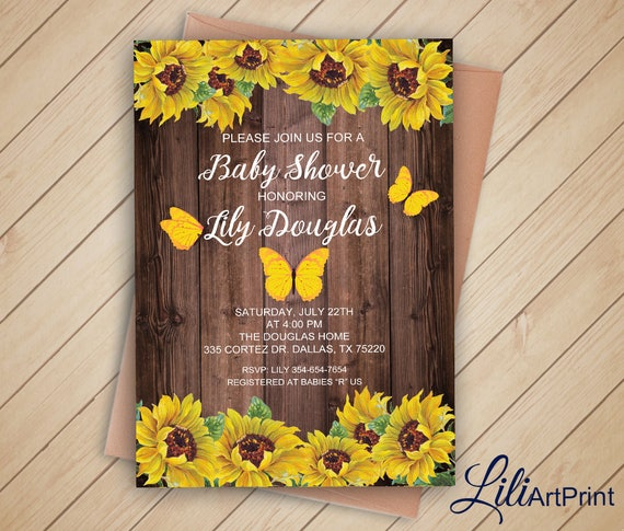 Sunflower baby shower invitation printable baby shower filmwisefo