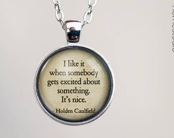 Catcher (Excited) Quote jewelry. Pendant, Necklace or Keychain Key Ring. Perfect Gift Present. Glass dome phrase words charm HomeStudio