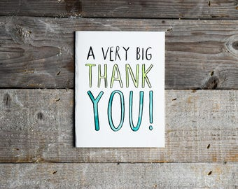 Thank You Card • Thanks So Much Card • Appreciation Card • Hand Painted Watercolor Card