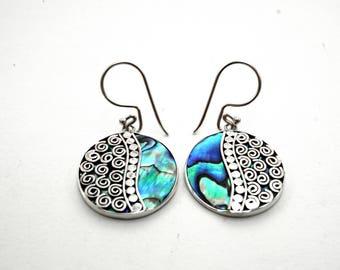 Abalone .925 Silver Wave Earrings Bali