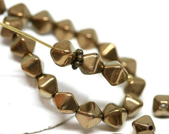 Old Gold bicone beads 6mm czech glass bicones Coated Dark golden pressed beads - 30pc - 2265