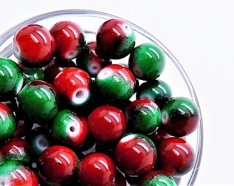 Round glass beads; Christmas red and green glass beads, 10mm rounds, 8pcs/2.40.