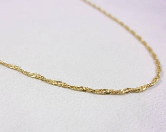 "Solid 14K Yellow Gold 20"" 1.1mm Twisted Curb Link Chain Necklace, 1.6 grams"