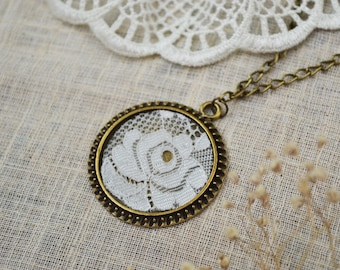 Bridal necklace, victorian necklace, rose flower necklace, Brass necklace with lace,  Cotton wedding anniversary