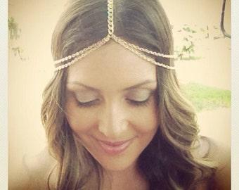Head chain, Coachella, Boho hair, Hippy, Hipster, Gold or Silver Plated
