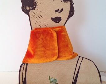 Neck pumpkin. Silk velvet. Dyed by hand Handmade and designed by enSeda. Thanksgiving Day. Christmas special. Winter wedding