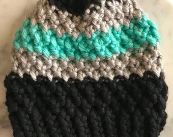 Black, grey and teal beanie