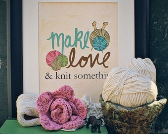 And Knit Something // Typographic Print, Gifts for Knitters, Crafters, Craft Room Art, Digital Print, Giclee, Studio Art