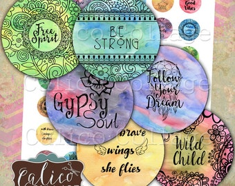 Printable Boho Digital Collage Sheet, Bottlecap Images, 1 Inch Circles, 25mm Circles, Printable Download, CalicoCollage, Boho Zen