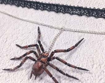 LINGGO spider black lace choker Spider Necklace Spider Jewelry Spider Gift spider and web charm halloween necklace handmade polymer clay