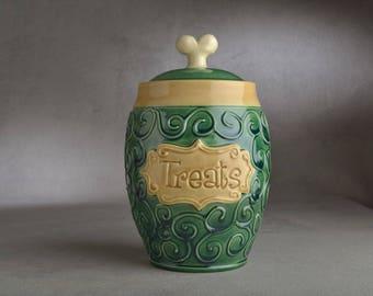 "Dog Treat Jar Ready To Ship ""Treats"" Green Curls Treat Jar by Symmetrical Pottery"
