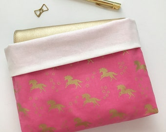 A5, Personal, Pocket Planner Reversible Protective Pouch - Pink Unicorn Planner Pouch - Made to Order