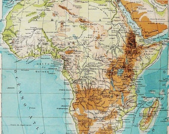 1900 Antique map of AFRICA 118 years old chart