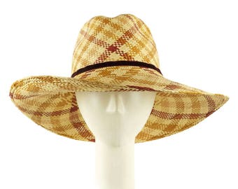 Plaid Cowboy Hat for Women, Ladies Straw Hat Wide Brim Hat, Sun Hat Fedora Hat, Beach Hat, Straw Fedora Hat Western Style Music Festival Hat
