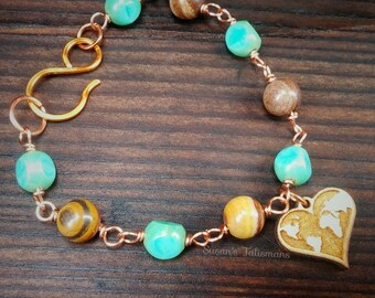 Love The World Bracelet with Picture Jasper and Czech Glass