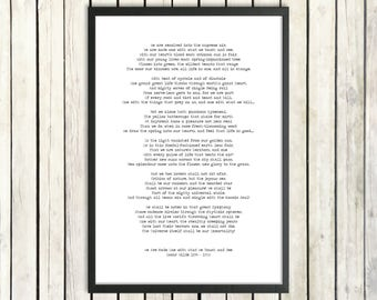 Oscar Wilde Printable Poem 'We Are Made One' Instant Download Romantic Print Nature Poetry Typed Literature Poster Victorian Love Poetry