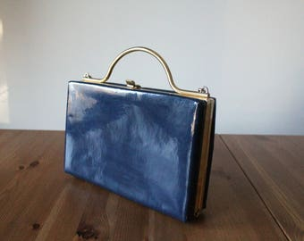 Vintage 80s navy blue and brass box bag //  blue 80s shoulder bag with removable strap