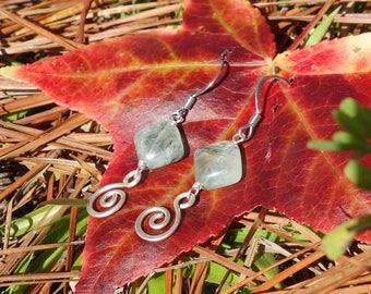 Prehnite Earrings ~ Sterling Silver, Handmade Earrings, Wire Wrapped, Stone Earrings, Boho, Dangle Earrings, Natural Stone, Prehnite Jewelry