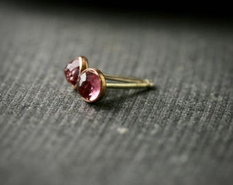 4mm rose cut pink tourmaline 14k rose gold bezel stud earrings