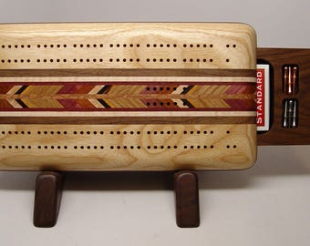 Cribbage Board, Cribbage, Board Game, Handmade Game, 2 Player, Up and Down, Ash