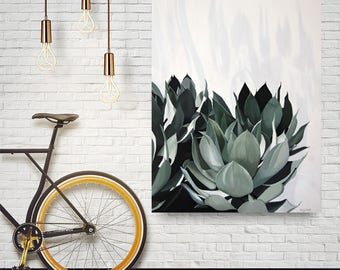 Agave Plant Painting - Succulent Wall Art Greenery Leaves Monochromatic Green Original Art Large Wall Hanging Acrylic Painting