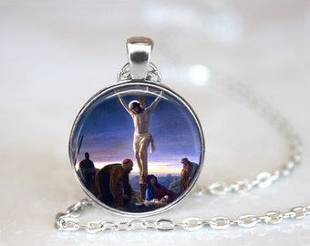 Carl Bloch Painting Jesus Glass Pendant, Photo Glass Necklace, Glass Keychain, Glass Jewelry