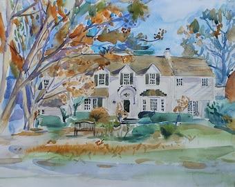 Custom House Portrait -  Custom Portrait  - Watercolor painting - Painting of House  - housewarming gift